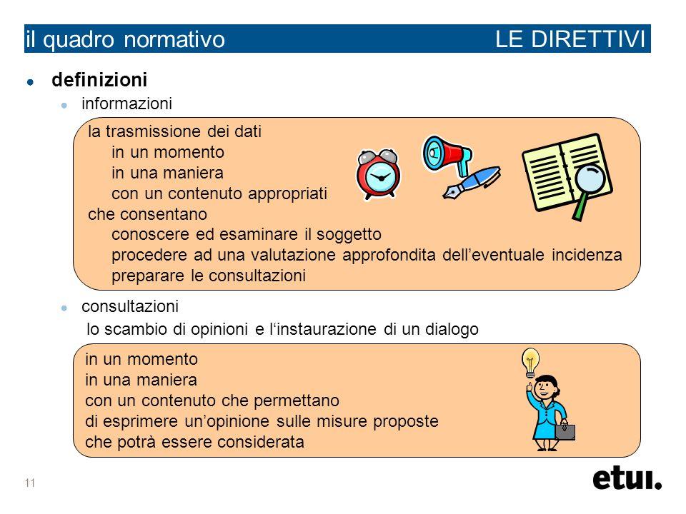 11 definizioni informazioni consultazioni lo scambio di opinioni e linstaurazione di un dialogo il quadro normativo LE DIRETTIVI in un momento in una