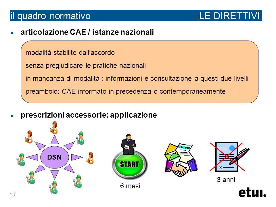 13 il quadro normativo LE DIRETTIVI articolazione CAE / istanze nazionali prescrizioni accessorie: applicazione modalità stabilite dallaccordo senza p