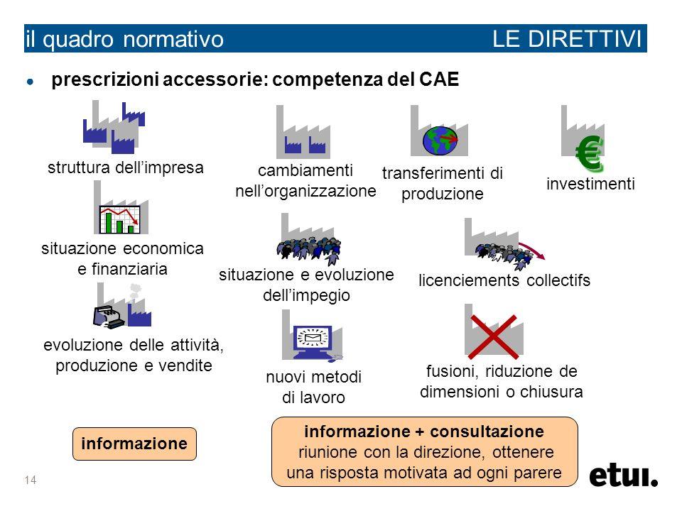 14 il quadro normativo LE DIRETTIVI prescrizioni accessorie: competenza del CAE struttura dellimpresa situazione e evoluzione dellimpegio fusioni, rid
