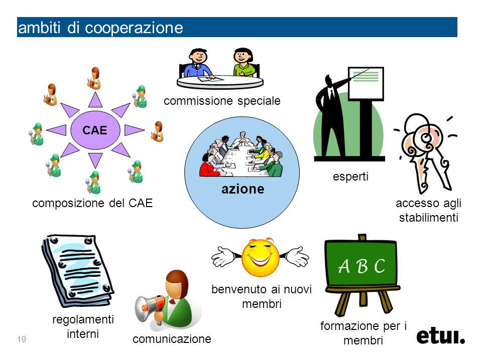 19 ambiti di cooperazione azione comunicazione benvenuto ai nuovi membri regolamenti interni CAE composizione del CAE accesso agli stabilimenti formaz