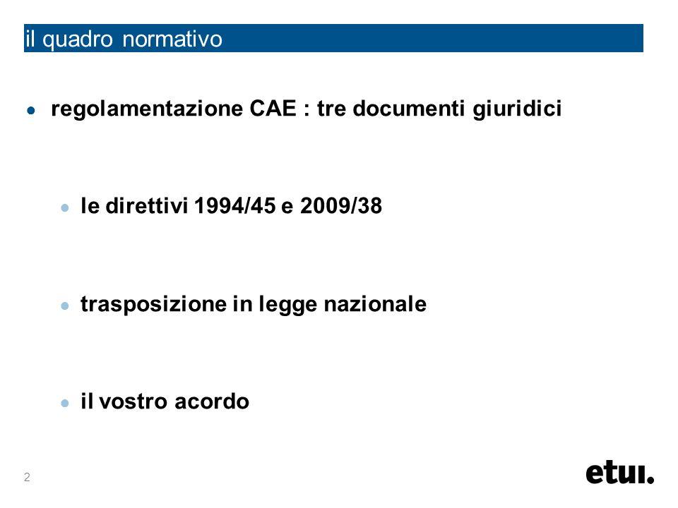 2 regolamentazione CAE : tre documenti giuridici le direttivi 1994/45 e 2009/38 trasposizione in legge nazionale il vostro acordo