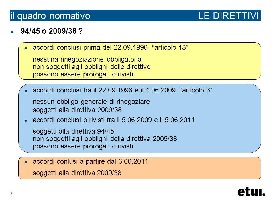 3 il quadro normativo LE DIRETTIVI 94/45 o 2009/38 ? accordi conclusi prima del 22.09.1996 articolo 13 nessuna rinegoziazione obbligatoria non soggett