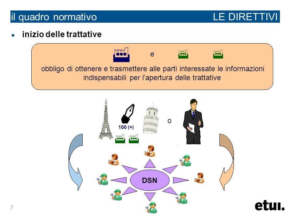 7 il quadro normativo LE DIRETTIVI inizio delle trattative e obbligo di ottenere e trasmettere alle parti interessate le informazioni indispensabili p