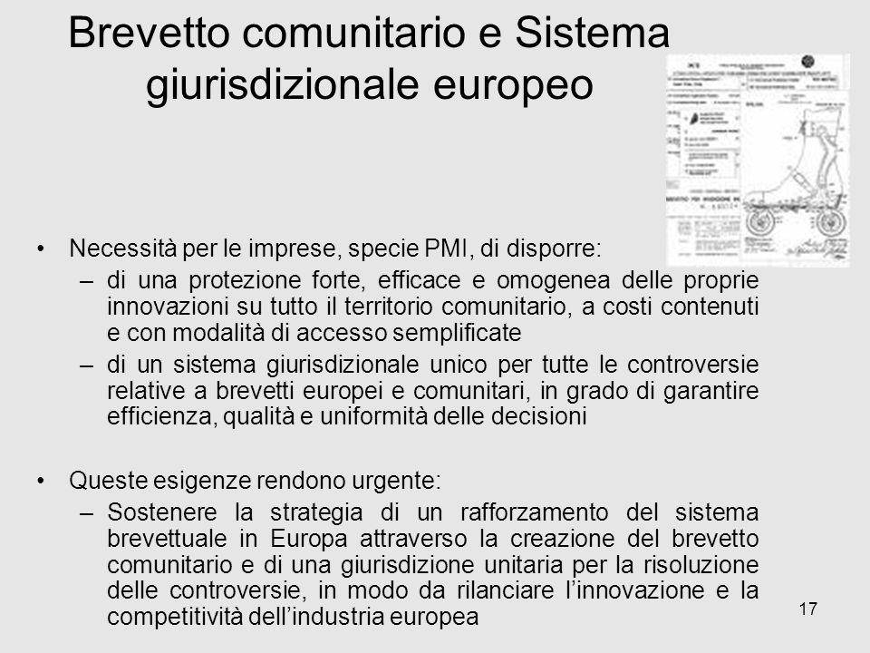 17 Necessità per le imprese, specie PMI, di disporre: –di una protezione forte, efficace e omogenea delle proprie innovazioni su tutto il territorio c