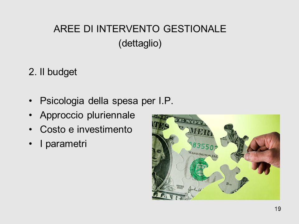 AREE DI INTERVENTO GESTIONALE (dettaglio) 2. Il budget Psicologia della spesa per I.P. Approccio pluriennale Costo e investimento I parametri 19