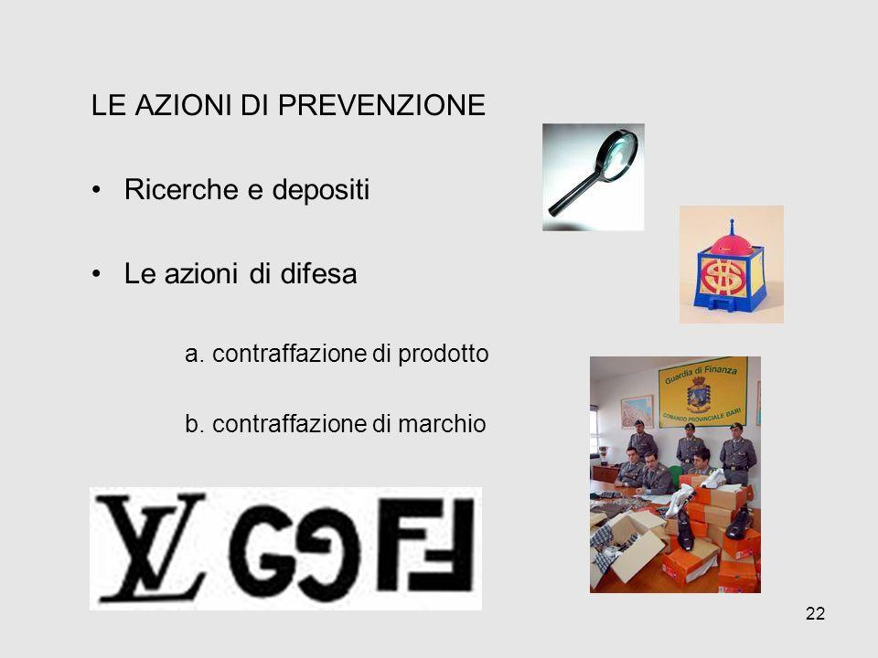 LE AZIONI DI PREVENZIONE Ricerche e depositi Le azioni di difesa a. contraffazione di prodotto b. contraffazione di marchio 22