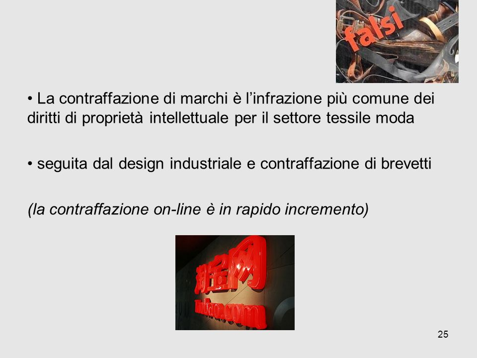 La contraffazione di marchi è linfrazione più comune dei diritti di proprietà intellettuale per il settore tessile moda seguita dal design industriale