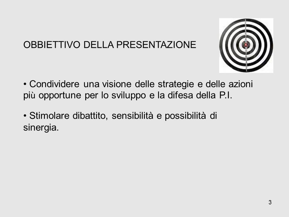 3 OBBIETTIVO DELLA PRESENTAZIONE Condividere una visione delle strategie e delle azioni pi ù opportune per lo sviluppo e la difesa della P.I. Stimolar