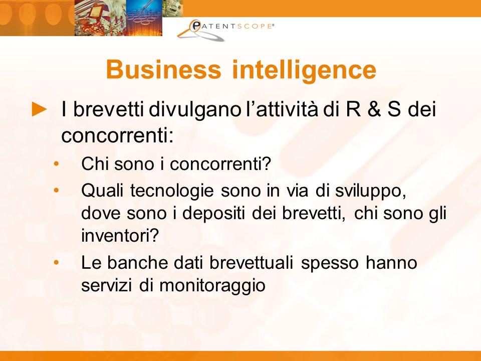 Business intelligence I brevetti divulgano lattività di R & S dei concorrenti: Chi sono i concorrenti? Quali tecnologie sono in via di sviluppo, dove