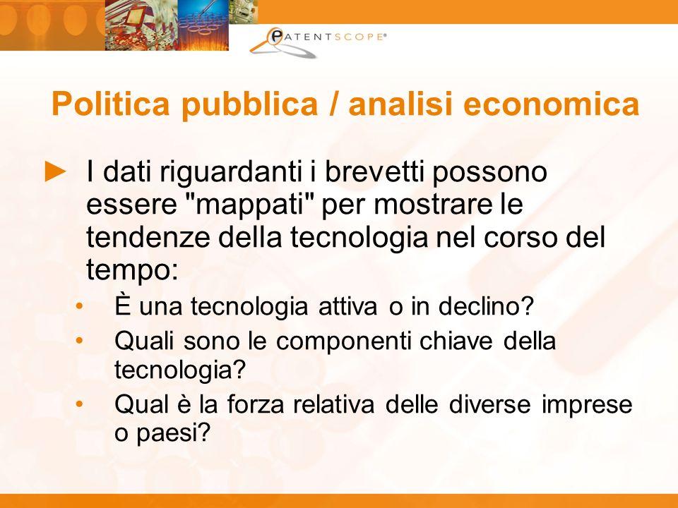 Politica pubblica / analisi economica I dati riguardanti i brevetti possono essere