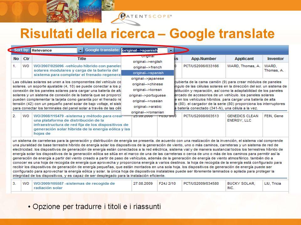 Risultati della ricerca – Google translate Opzione per tradurre i titoli e i riassunti