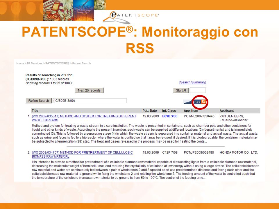 PATENTSCOPE ® : Monitoraggio con RSS