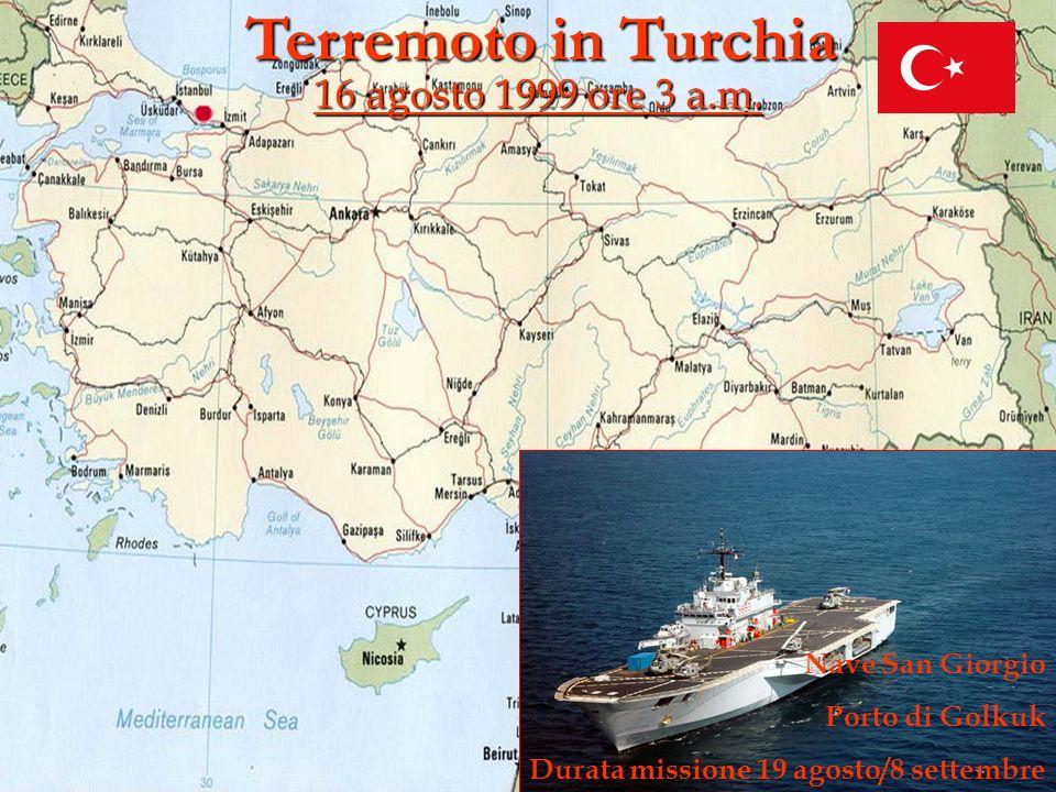 Terremoto in Turchia 16 agosto 1999 ore 3 a.m. Nave San Giorgio Porto di Golkuk Durata missione 19 agosto/8 settembre