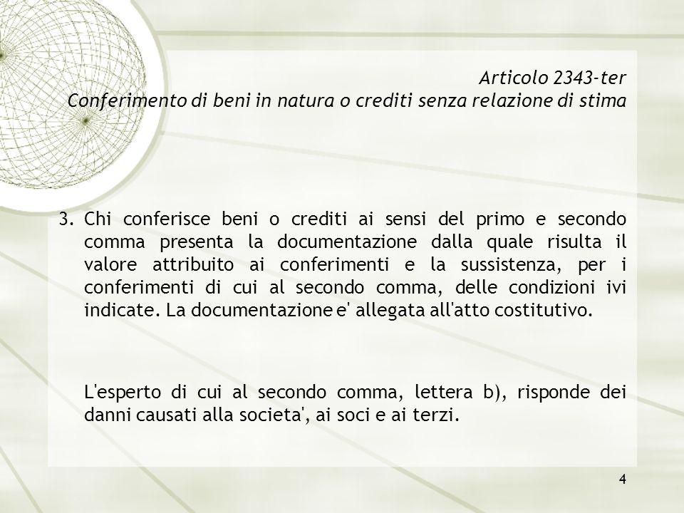 4 Articolo 2343-ter Conferimento di beni in natura o crediti senza relazione di stima 3.Chi conferisce beni o crediti ai sensi del primo e secondo com