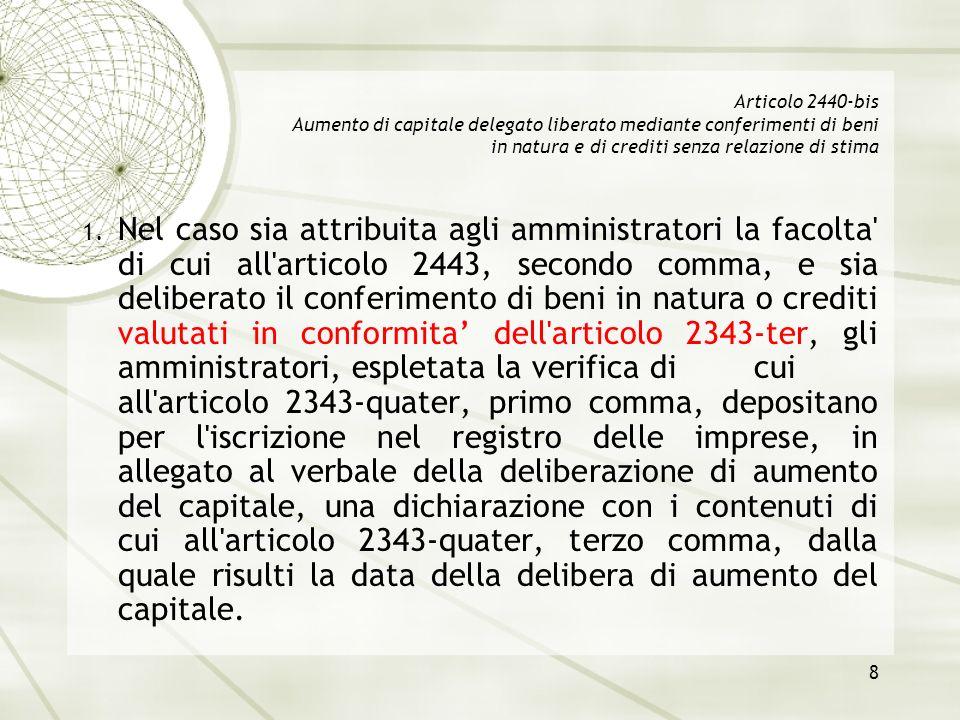 8 Articolo 2440-bis Aumento di capitale delegato liberato mediante conferimenti di beni in natura e di crediti senza relazione di stima 1. Nel caso si