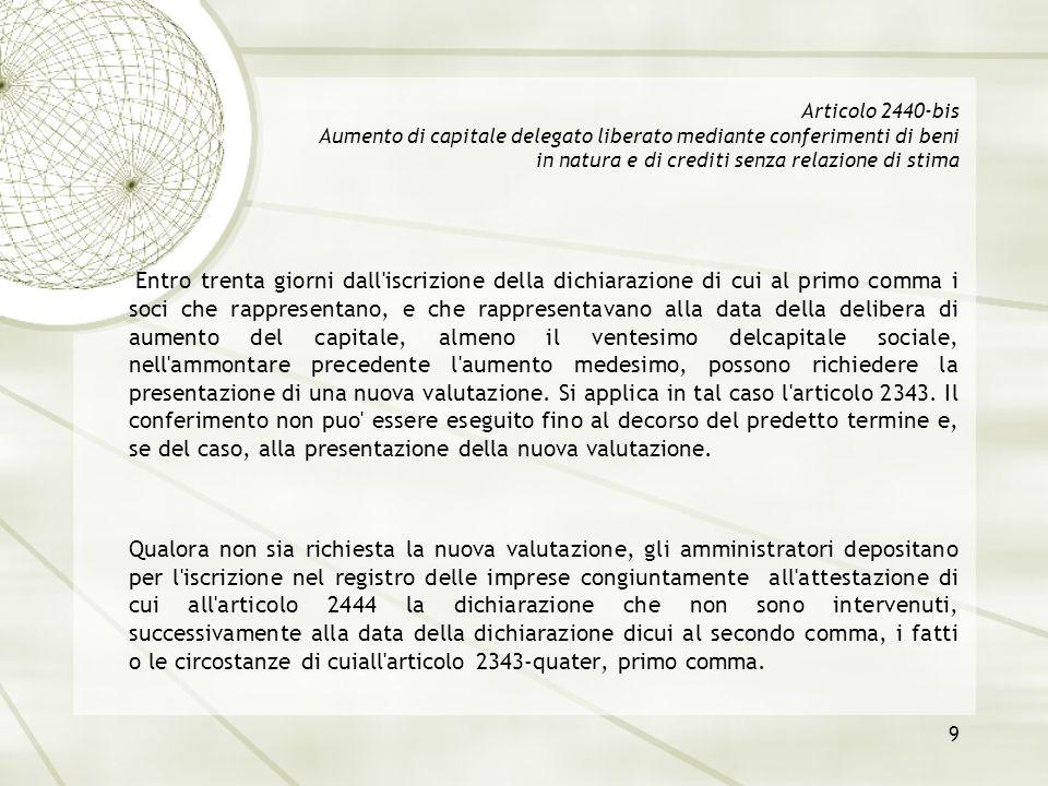 9 Articolo 2440-bis Aumento di capitale delegato liberato mediante conferimenti di beni in natura e di crediti senza relazione di stima Entro trenta g