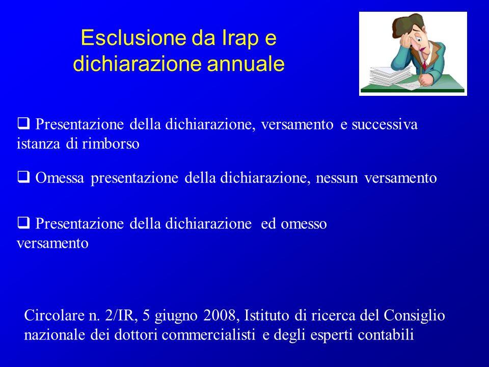 Esclusione da Irap e dichiarazione annuale Omessa presentazione della dichiarazione, nessun versamento Presentazione della dichiarazione, versamento e