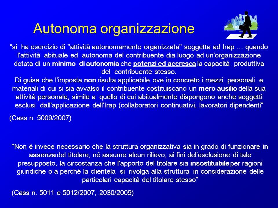 Autonoma organizzazione si ha esercizio di
