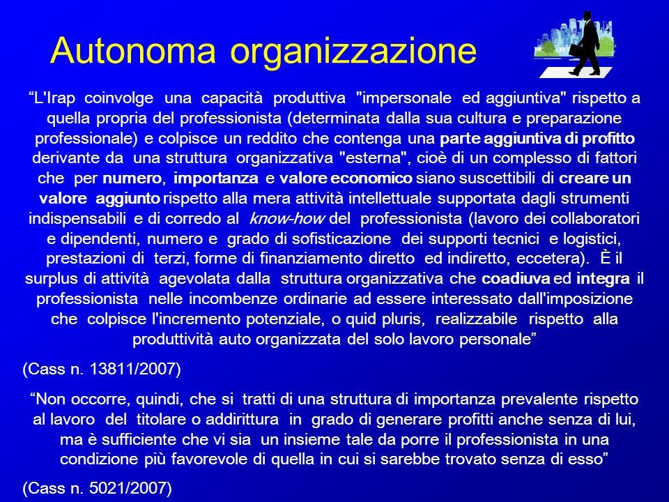 Autonoma organizzazione L'Irap coinvolge una capacità produttiva