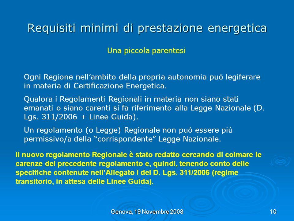 Genova, 19 Novembre 200810 Requisiti minimi di prestazione energetica Una piccola parentesi Ogni Regione nellambito della propria autonomia può legife