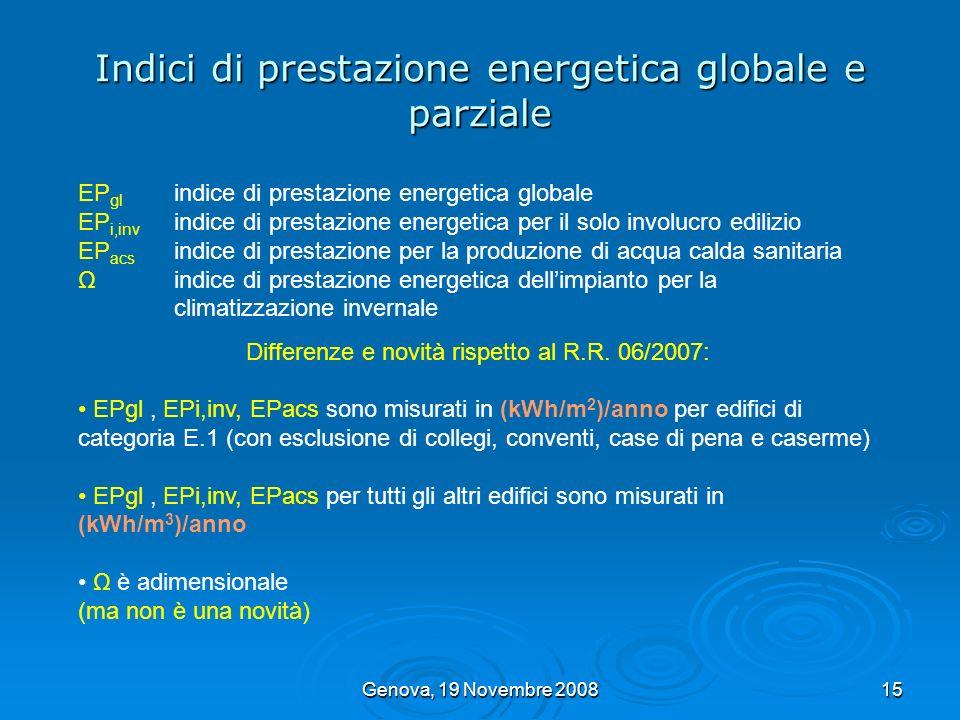 Genova, 19 Novembre 200815 Indici di prestazione energetica globale e parziale EP gl indice di prestazione energetica globale EP i,inv indice di prest