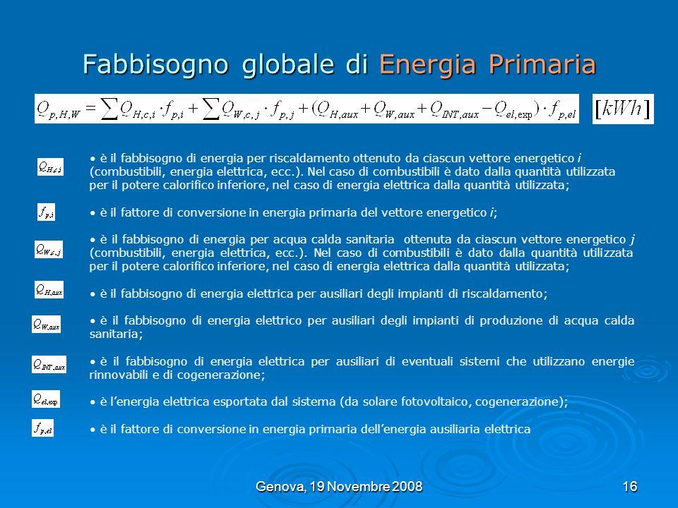 Genova, 19 Novembre 200816 Fabbisogno globale di Energia Primaria è il fabbisogno di energia per riscaldamento ottenuto da ciascun vettore energetico
