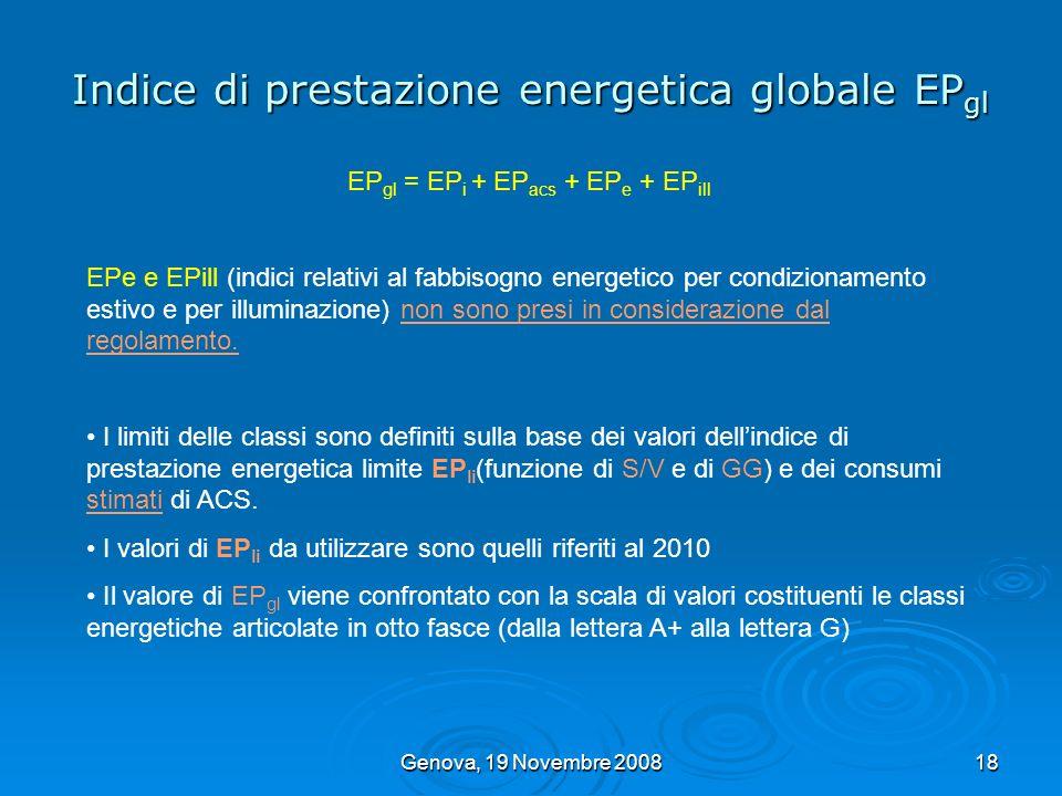 Genova, 19 Novembre 200818 Indice di prestazione energetica globale EP gl EP gl = EP i + EP acs + EP e + EP ill EPe e EPill (indici relativi al fabbis