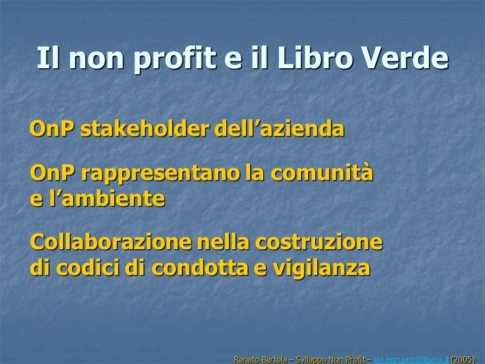 Il non profit e il Libro Verde OnP stakeholder dellazienda OnP rappresentano la comunità e lambiente Collaborazione nella costruzione di codici di con