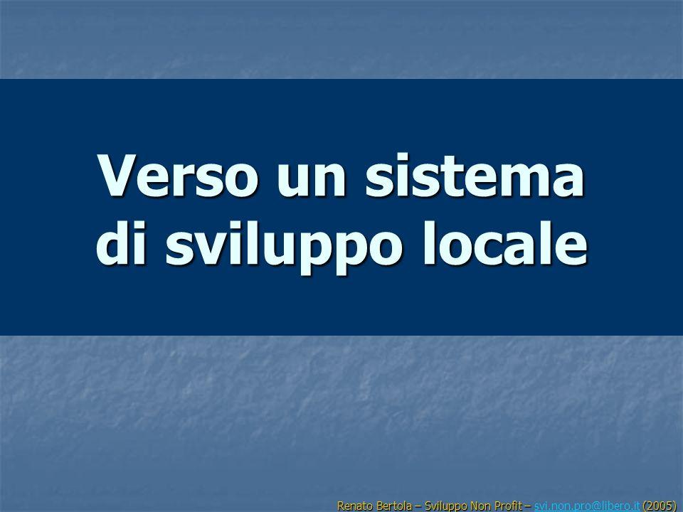 Verso un sistema di sviluppo locale Renato Bertola – Sviluppo Non Profit – (2005) Renato Bertola – Sviluppo Non Profit – svi.non.pro@libero.it (2005)s