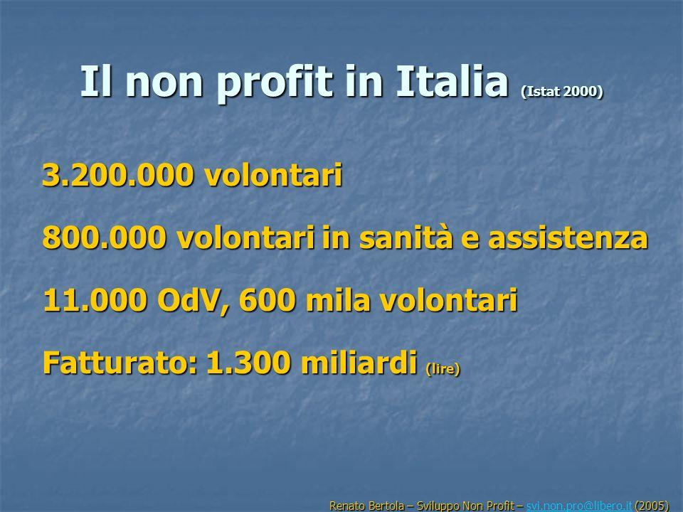 Il non profit in Italia (Istat 2000) 3.200.000 volontari 800.000 volontari in sanità e assistenza 11.000 OdV, 600 mila volontari Fatturato: 1.300 mili