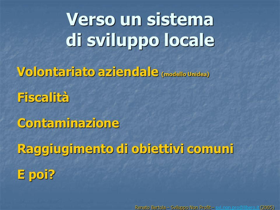 Verso un sistema di sviluppo locale Volontariato aziendale (modello Unidea) Fiscalità Contaminazione Raggiugimento di obiettivi comuni E poi? Renato B