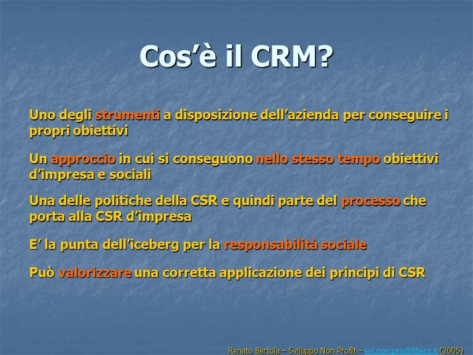 Cosè il CRM? Uno degli strumenti a disposizione dellazienda per conseguire i propri obiettivi Un approccio in cui si conseguono nello stesso tempo obi