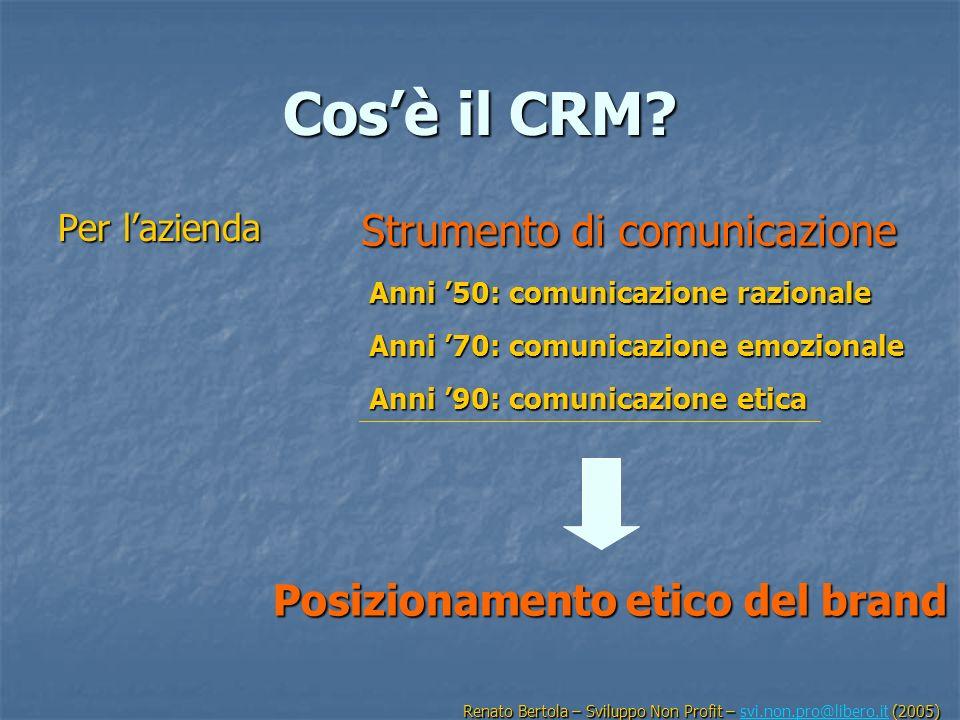 Cosè il CRM? Per lazienda Strumento di comunicazione Anni 50: comunicazione razionale Anni 70: comunicazione emozionale Anni 90: comunicazione etica P