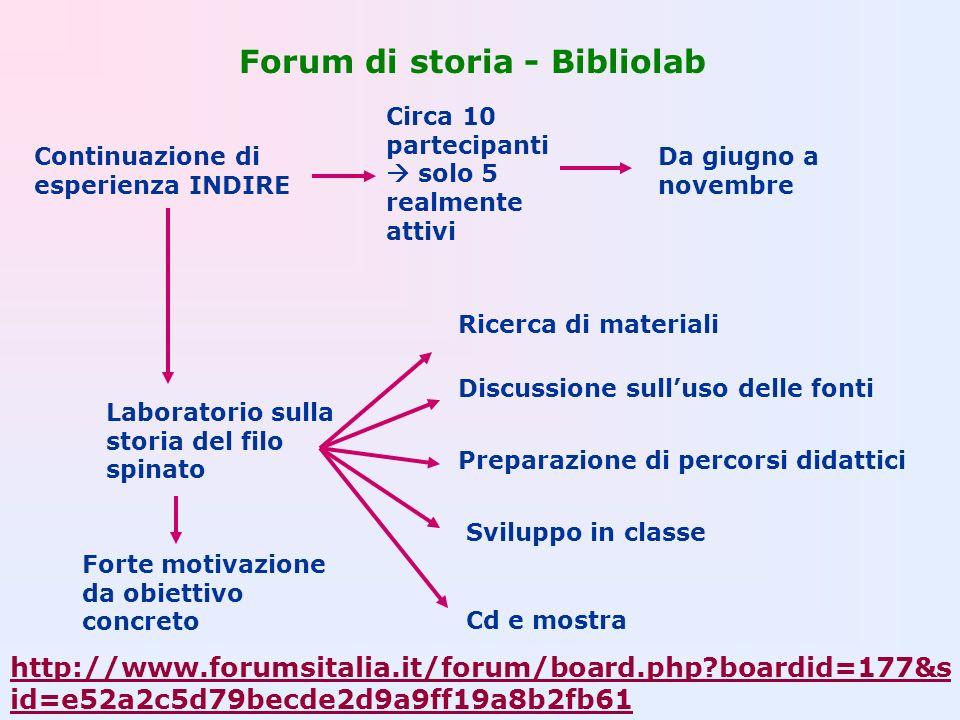 Forum di storia - Bibliolab Continuazione di esperienza INDIRE Circa 10 partecipanti solo 5 realmente attivi Da giugno a novembre Laboratorio sulla st