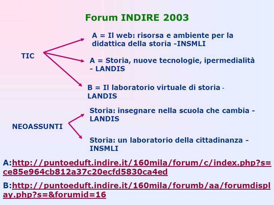 Forum INDIRE 2003 TIC B = Il laboratorio virtuale di storia - LANDIS A = Il web: risorsa e ambiente per la didattica della storia -INSMLI A = Storia,
