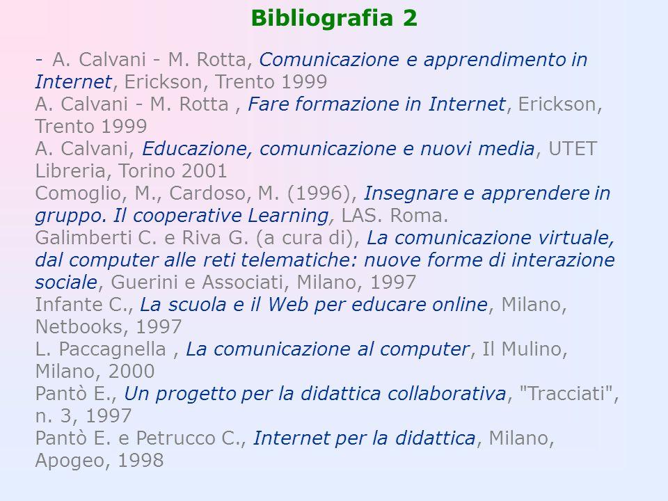 Bibliografia 2 - A. Calvani - M. Rotta, Comunicazione e apprendimento in Internet, Erickson, Trento 1999 A. Calvani - M. Rotta, Fare formazione in Int
