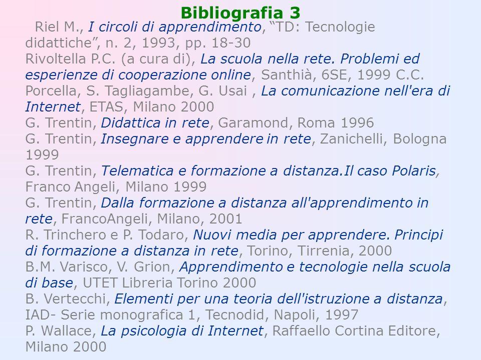 Bibliografia 3 Riel M., I circoli di apprendimento, TD: Tecnologie didattiche, n. 2, 1993, pp. 18-30 Rivoltella P.C. (a cura di), La scuola nella rete