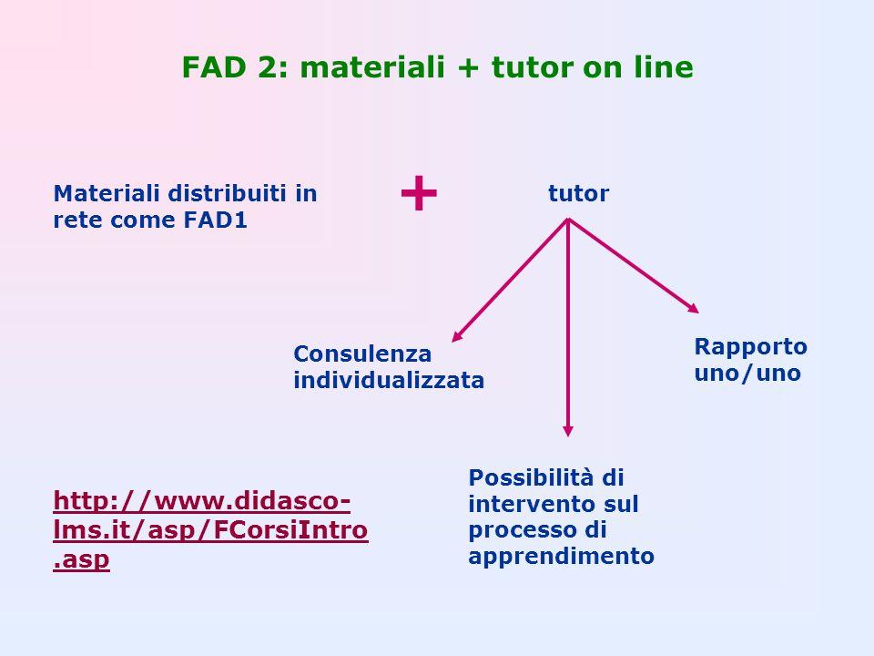 FAD 2: materiali + tutor on line Materiali distribuiti in rete come FAD1 + tutor Consulenza individualizzata Rapporto uno/uno Possibilità di intervent