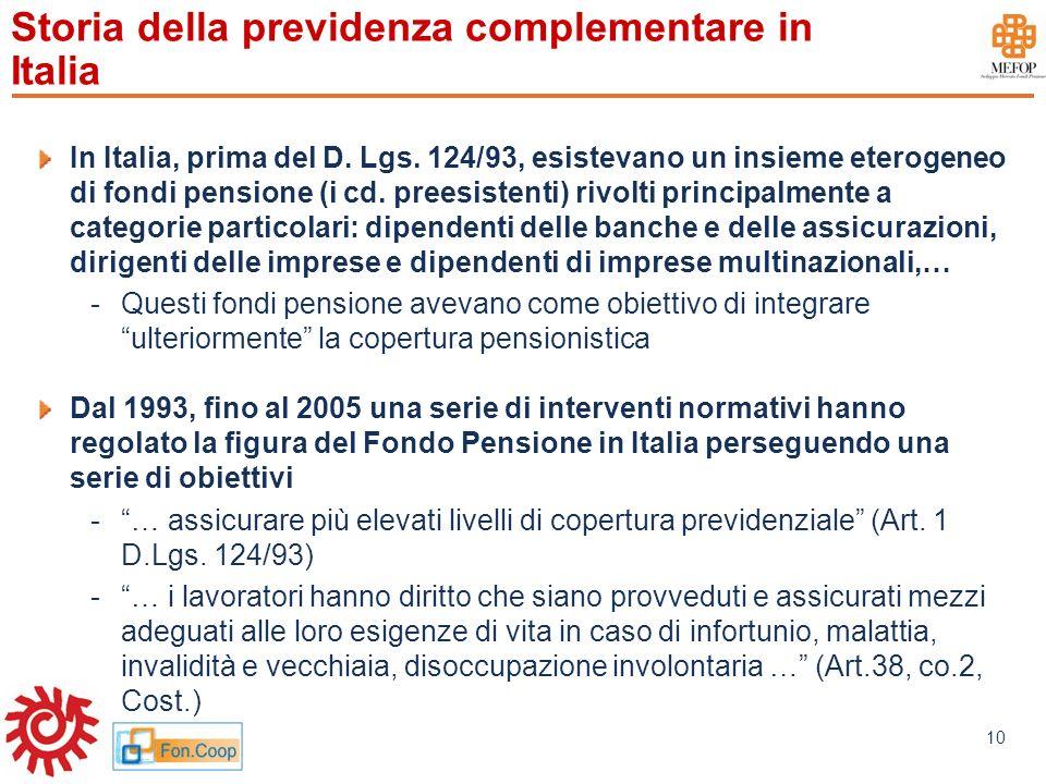 www.mefop.it 10 Storia della previdenza complementare in Italia In Italia, prima del D. Lgs. 124/93, esistevano un insieme eterogeneo di fondi pension
