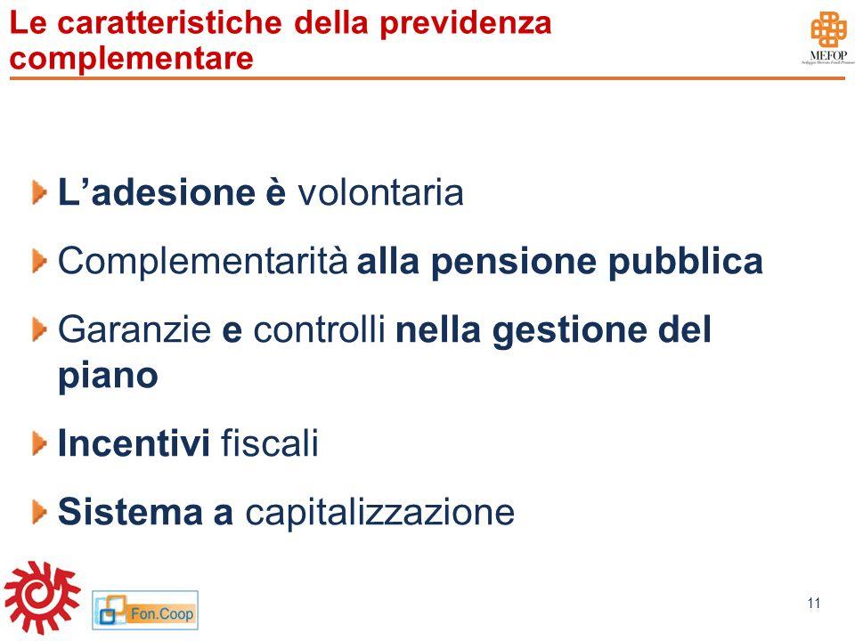 www.mefop.it 11 Le caratteristiche della previdenza complementare Ladesione è volontaria Complementarità alla pensione pubblica Garanzie e controlli n