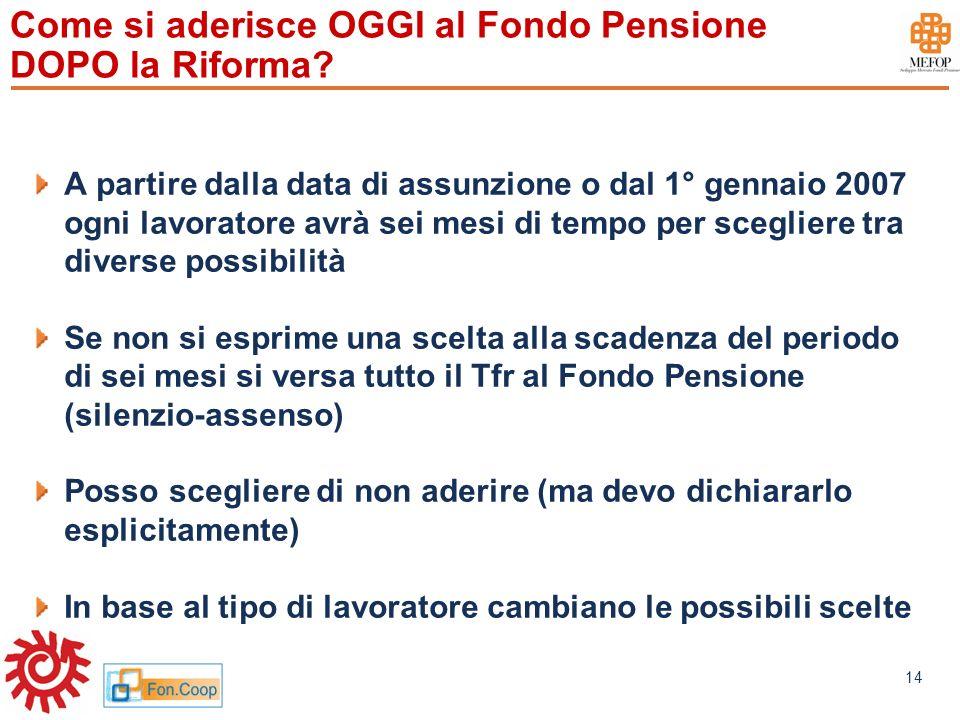 www.mefop.it 14 Come si aderisce OGGI al Fondo Pensione DOPO la Riforma? A partire dalla data di assunzione o dal 1° gennaio 2007 ogni lavoratore avrà