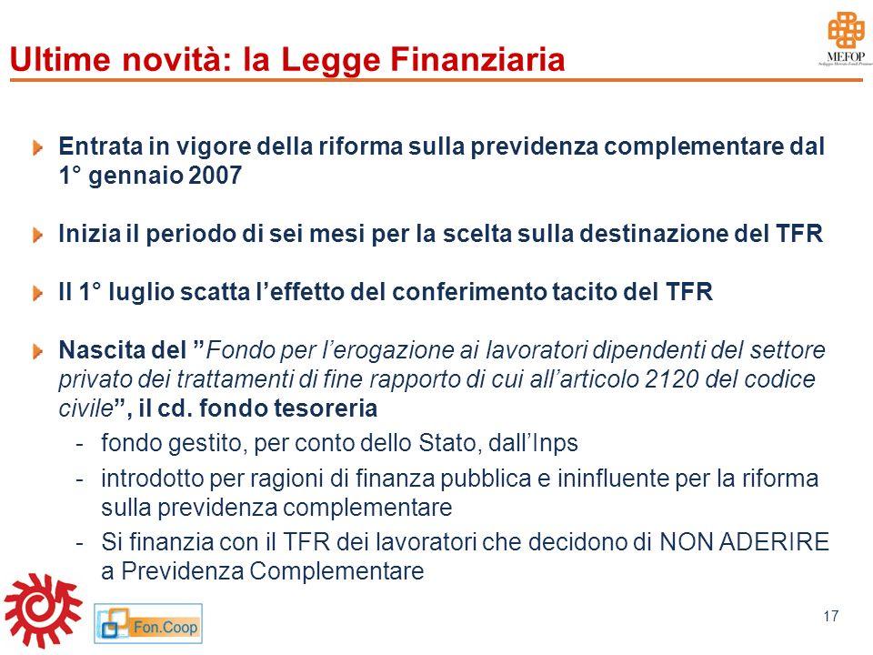 www.mefop.it 17 Ultime novità: la Legge Finanziaria Entrata in vigore della riforma sulla previdenza complementare dal 1° gennaio 2007 Inizia il perio