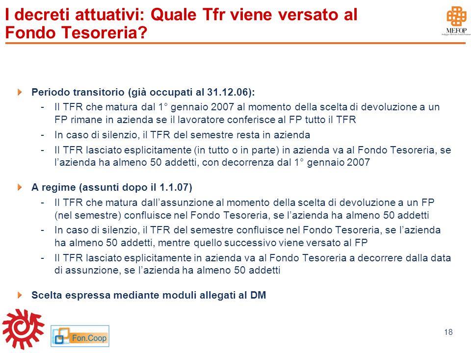 www.mefop.it 18 I decreti attuativi: Quale Tfr viene versato al Fondo Tesoreria? Periodo transitorio (già occupati al 31.12.06): -Il TFR che matura da