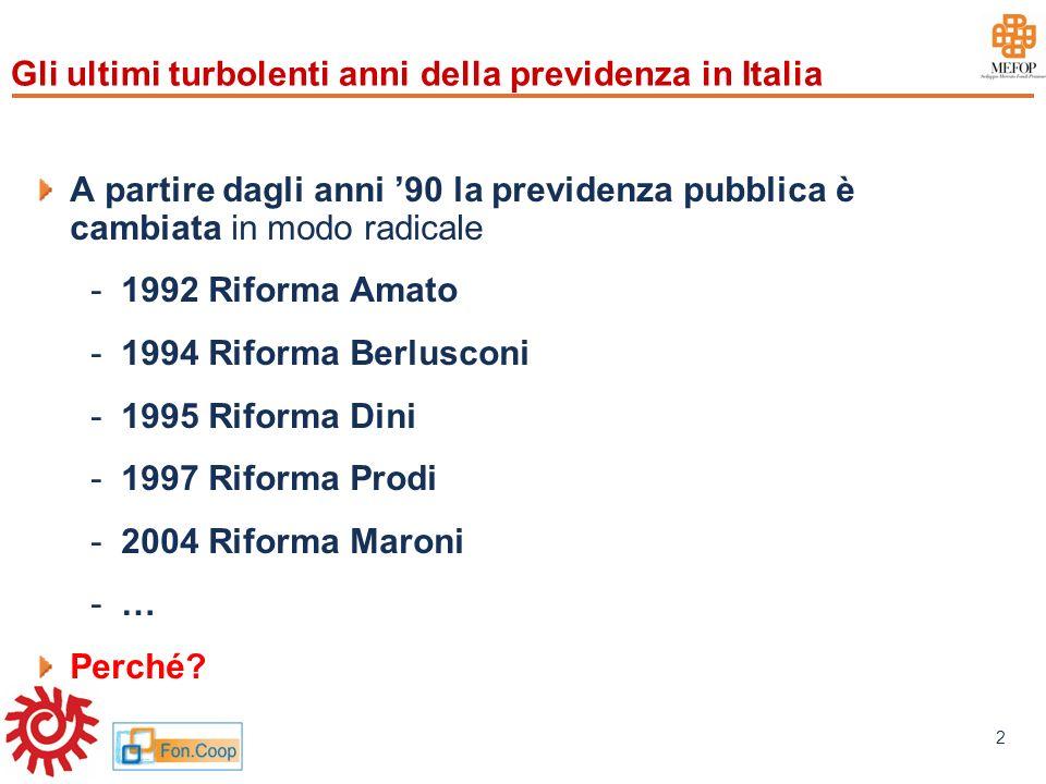 www.mefop.it 2 Gli ultimi turbolenti anni della previdenza in Italia A partire dagli anni 90 la previdenza pubblica è cambiata in modo radicale -1992
