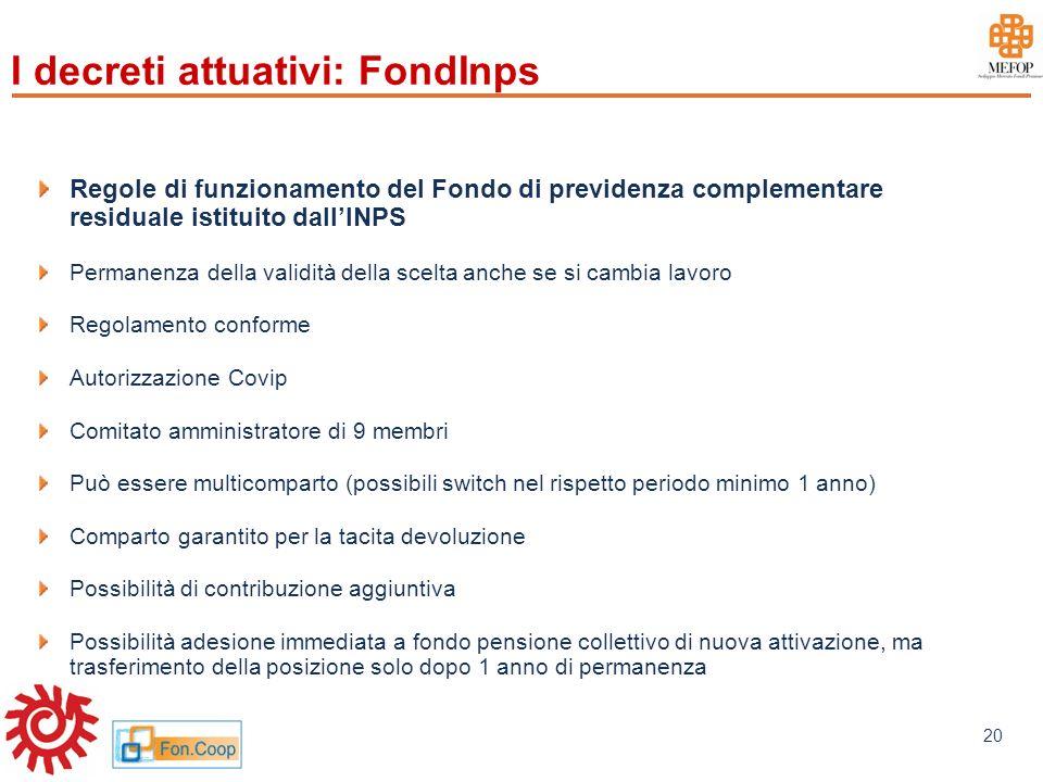 www.mefop.it 20 I decreti attuativi: FondInps Regole di funzionamento del Fondo di previdenza complementare residuale istituito dallINPS Permanenza de