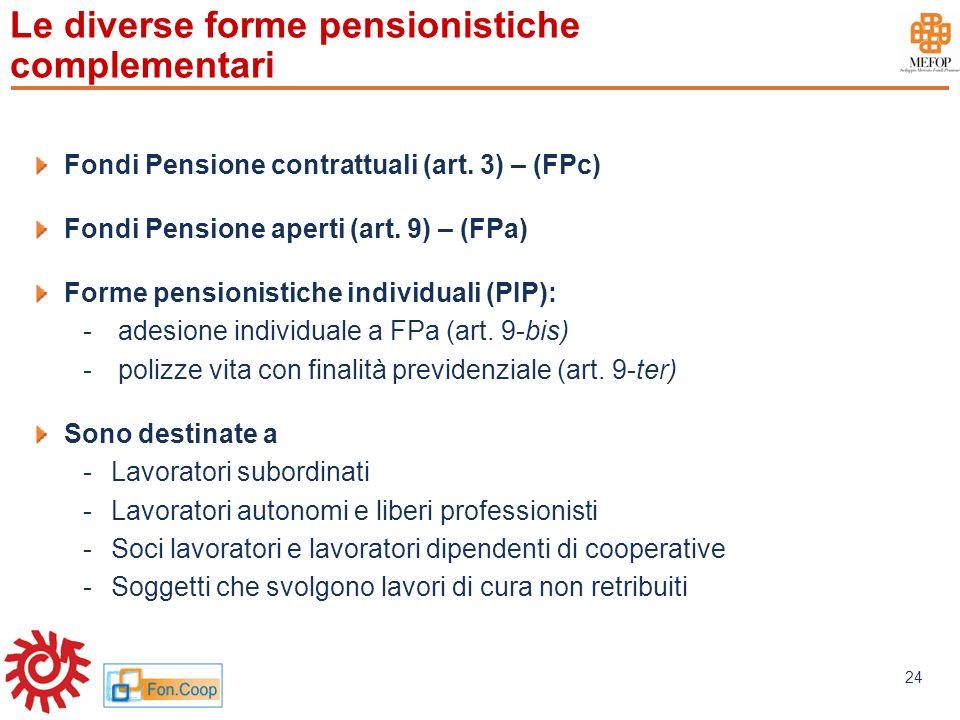 www.mefop.it 24 Le diverse forme pensionistiche complementari Fondi Pensione contrattuali (art. 3) – (FPc) Fondi Pensione aperti (art. 9) – (FPa) Form