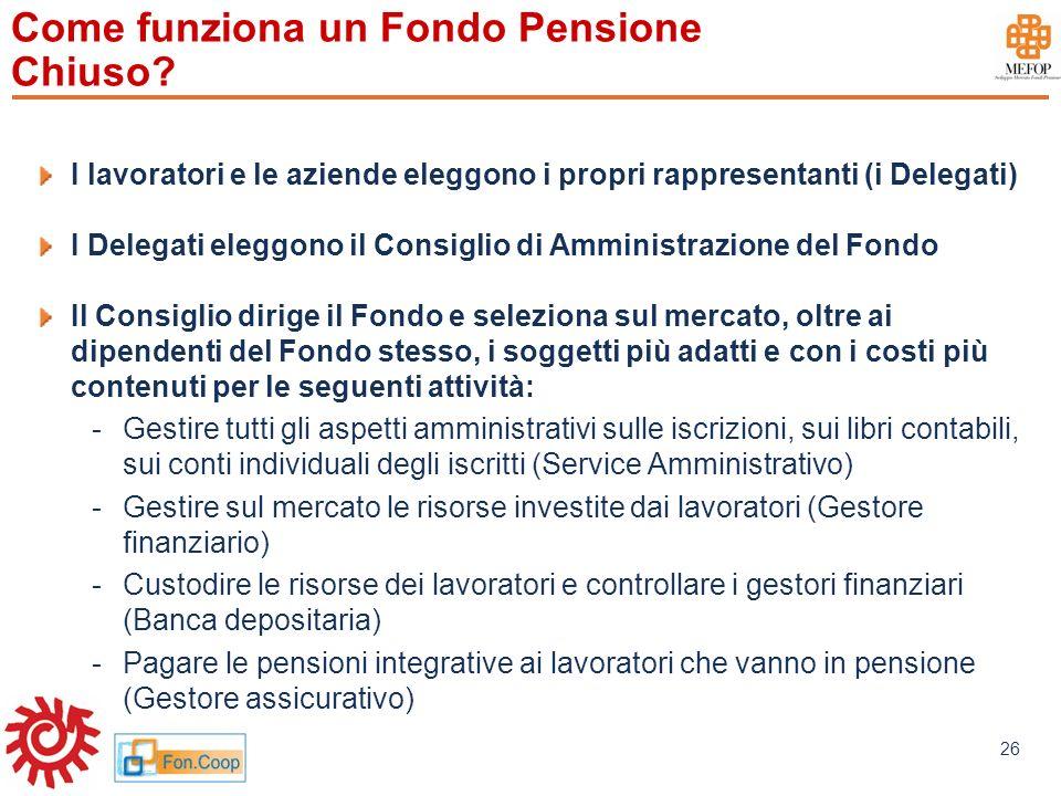 www.mefop.it 26 Come funziona un Fondo Pensione Chiuso? I lavoratori e le aziende eleggono i propri rappresentanti (i Delegati) I Delegati eleggono il