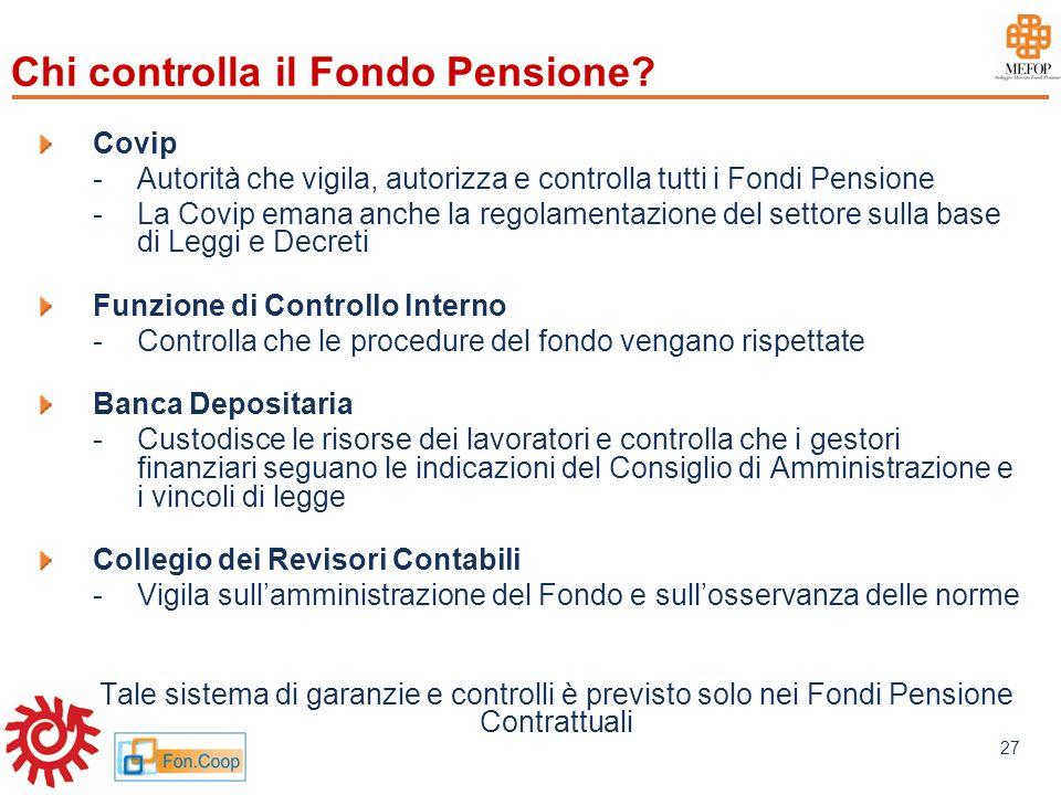 www.mefop.it 27 Chi controlla il Fondo Pensione? Covip -Autorità che vigila, autorizza e controlla tutti i Fondi Pensione -La Covip emana anche la reg