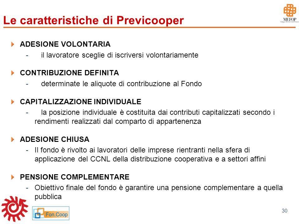 www.mefop.it 30 Le caratteristiche di Previcooper ADESIONE VOLONTARIA -il lavoratore sceglie di iscriversi volontariamente CONTRIBUZIONE DEFINITA -det