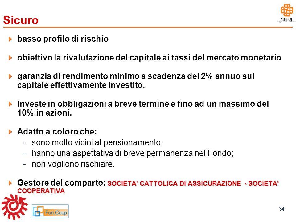 www.mefop.it 34 basso profilo di rischio obiettivo la rivalutazione del capitale ai tassi del mercato monetario garanzia di rendimento minimo a scaden